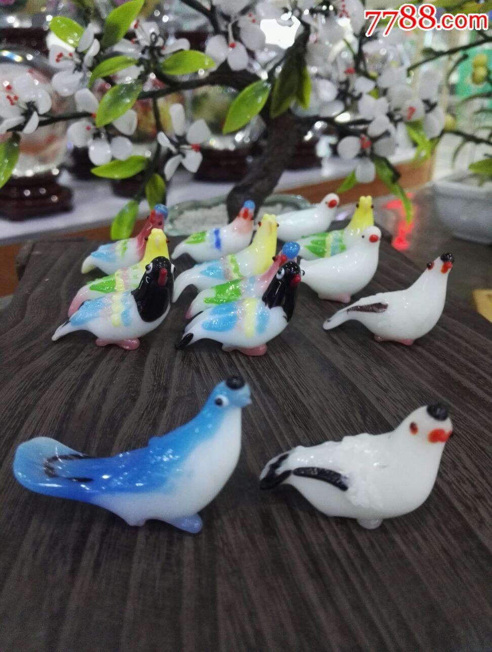 七十年代北京老琉璃老料器小鸟摆件
