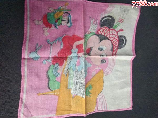 上世纪80年代儿童动物棉制小手绢.