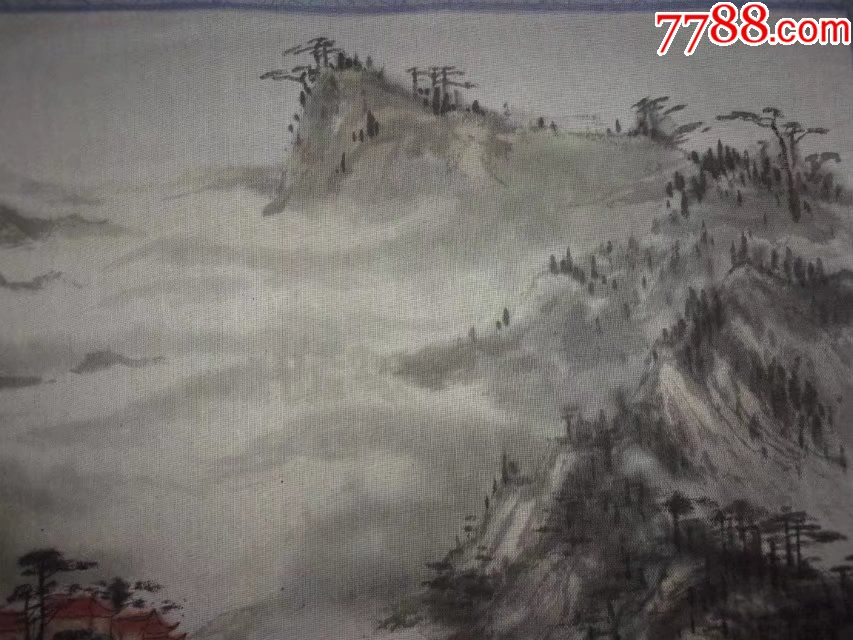 1988年纯手工原创绘制山水画国画老布画峨眉山揽胜图