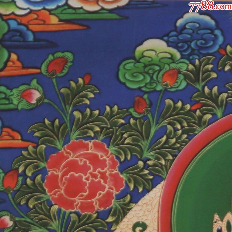 西藏丝绢布刺绣唐卡装饰画客厅现代中式民族风镇宅佛教玄关挂画