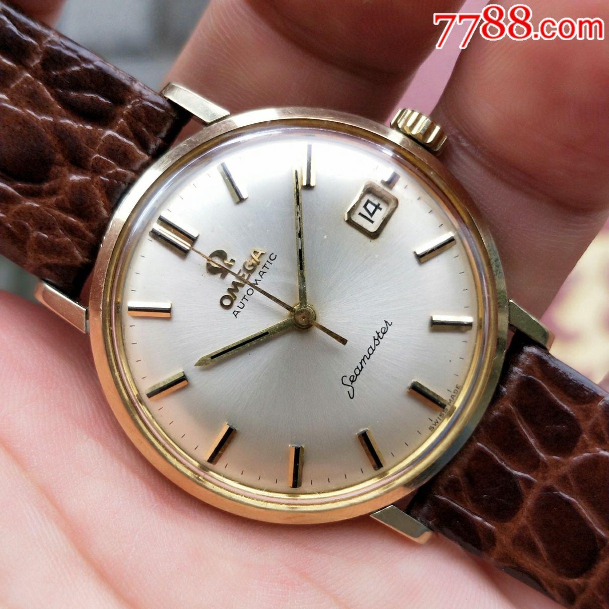 二手手表:瑞士古董欧米茄包金日历海马自动机械表图片
