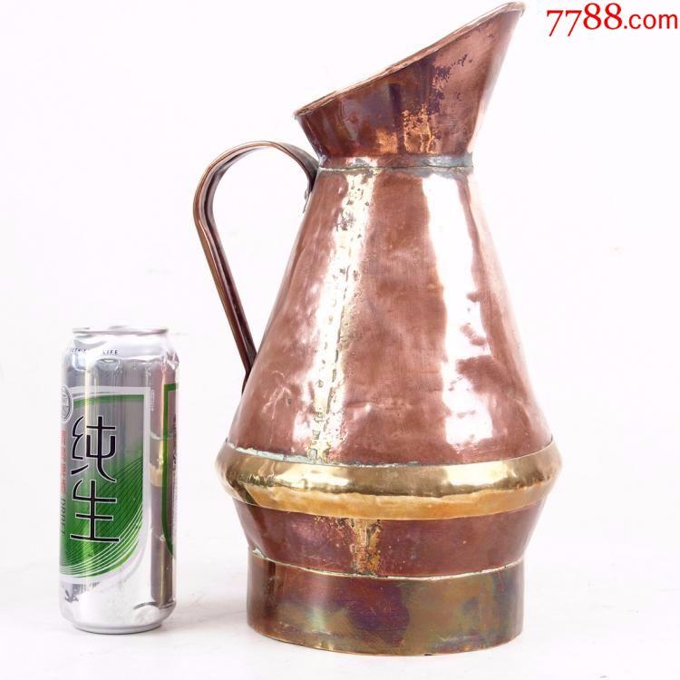 19世纪西洋古董铜器紫铜大号水桶带把手民俗收藏手工铜桶摆件