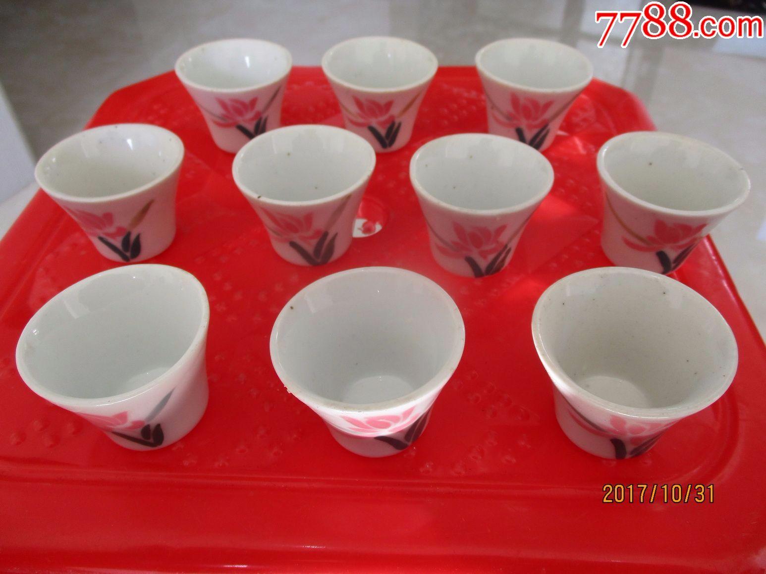 醴陵阳三石釉下五彩水仙酒杯10个一套