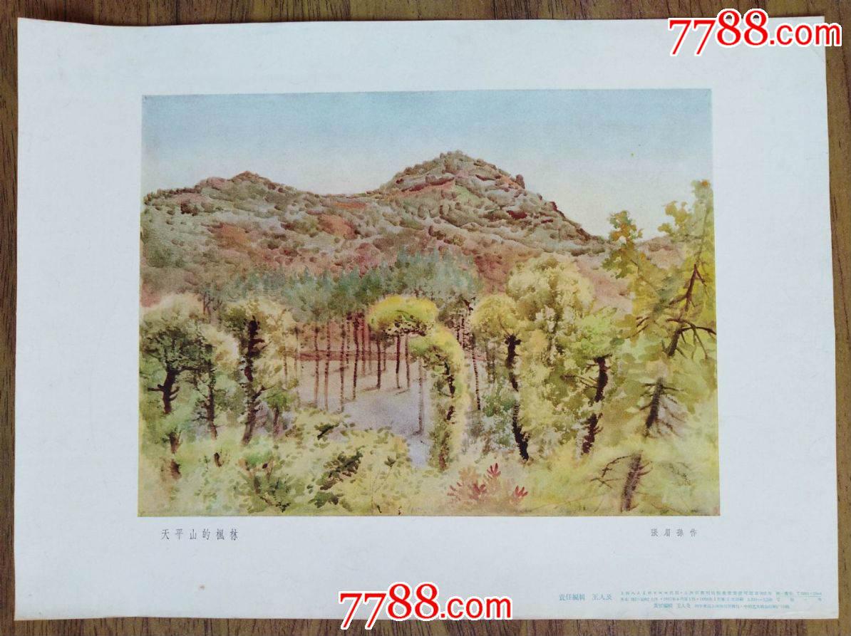 1957年上海人民美术出版社1版2印张眉孙水彩画《天平山的枫林》