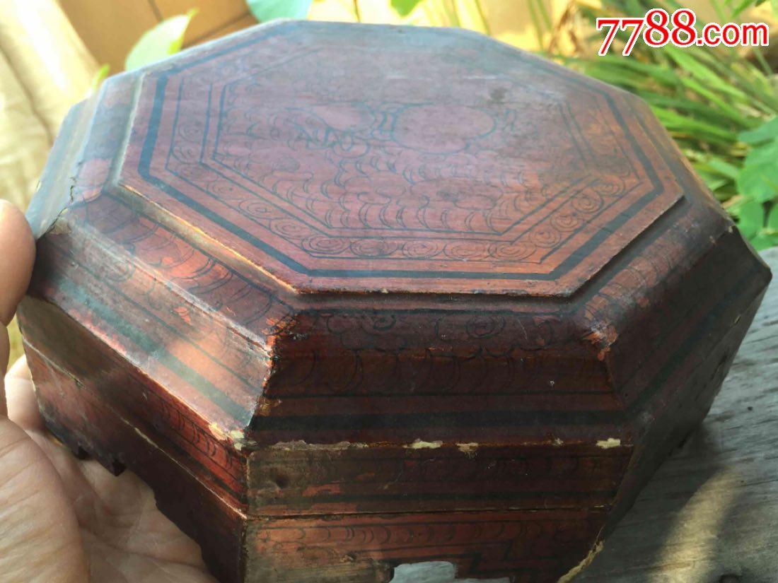 清代漆木八角手绘葫芦嫁妆盒!包浆老,古董老物件收藏摆设,包老