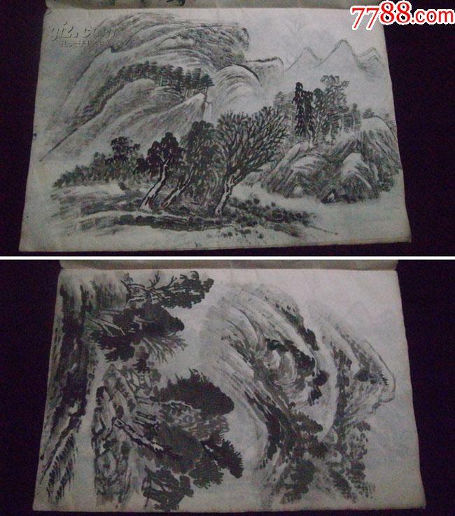 60~70年代某老画家8开国画手稿12幅(画法精湛,有大家风范,惜未署名)图片