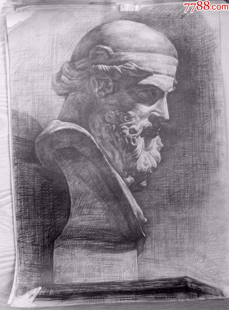 鲁美学生绘制的石膏素描作品_素描/速写_老虎头古玩