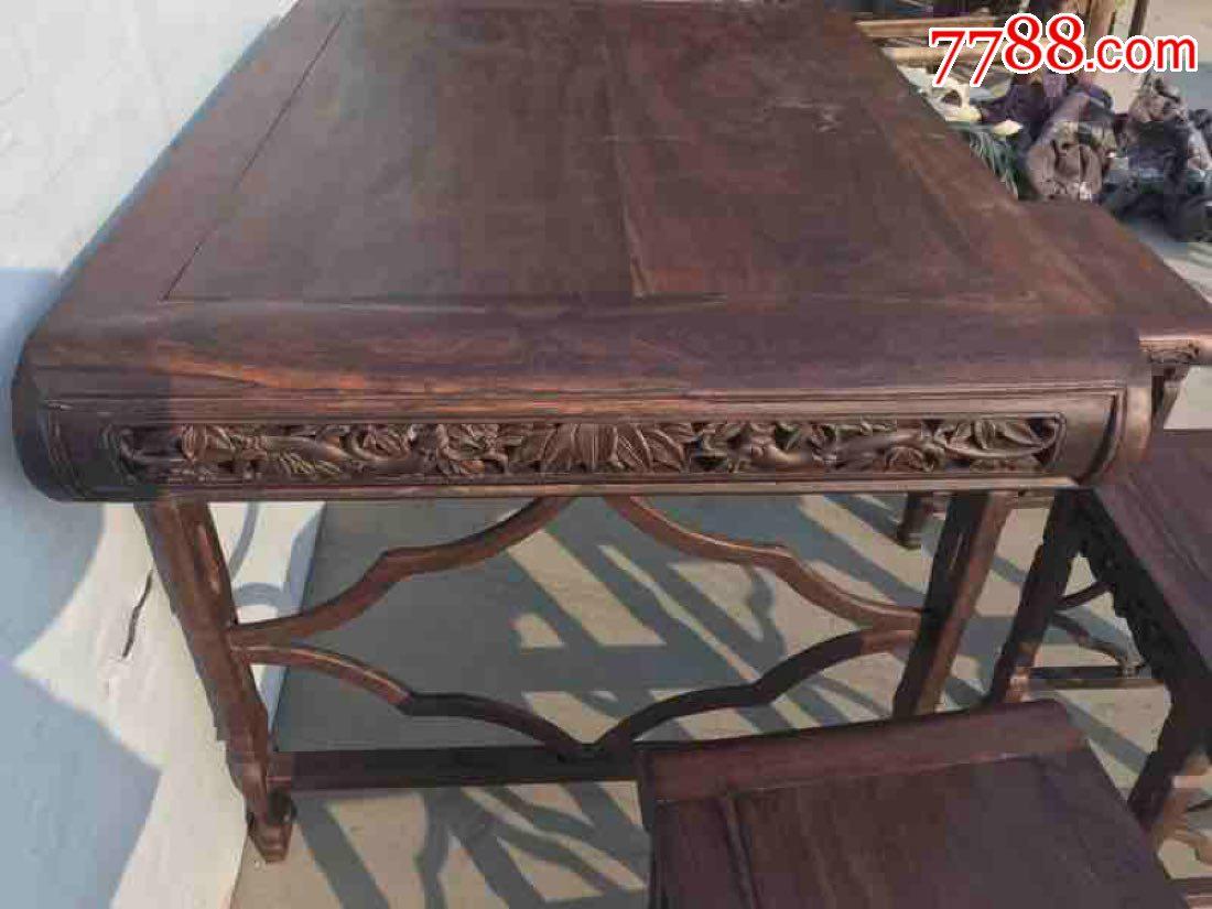 檀木茶桌五件套,雕刻精美做工精致,包桨好花纹飘亮