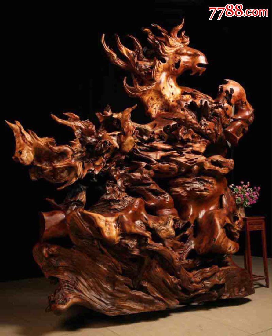 精品根雕木雕香樟木实木工艺品艺术品摆件之动物骏马马到成功