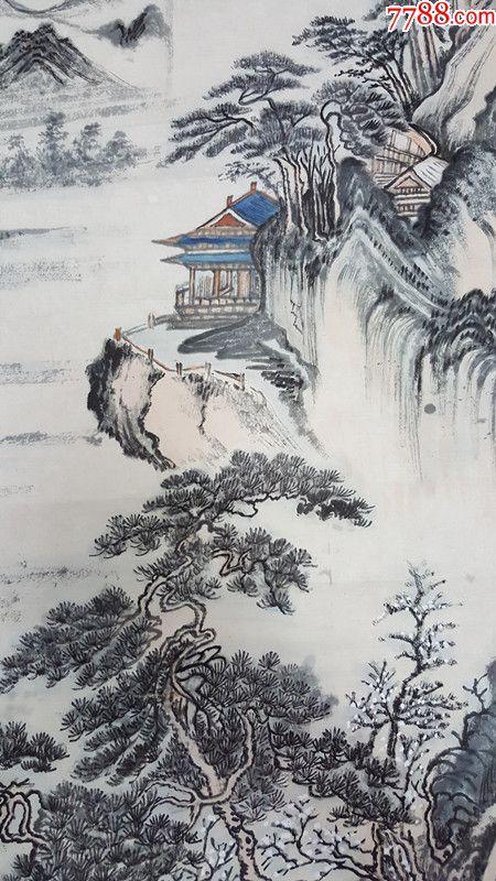 朱梅村_海派画家朱梅邨朱梅村山水冬景国画