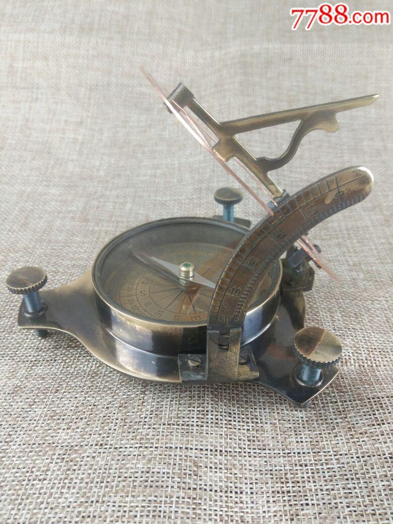 圆形折叠指南针纯铜手工制作指南针海外进口指南针摆件可使用