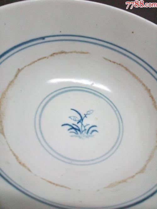 文革手绘青花鸡纹碗两个
