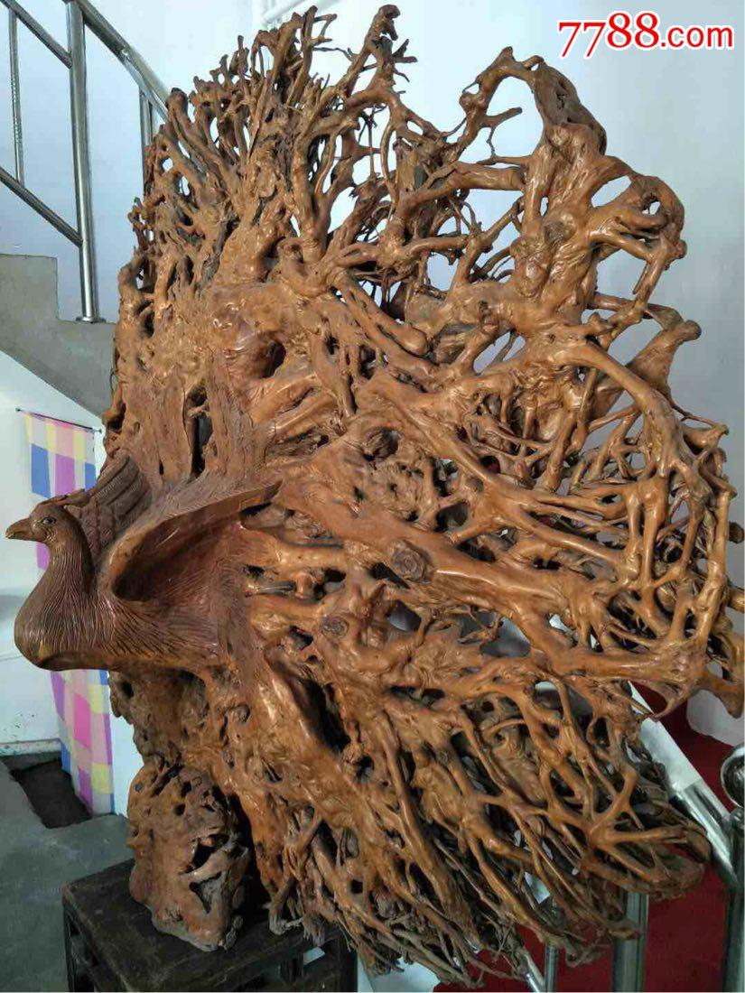 龙眼木自然根雕凤凰展翅,漂亮大气,难得佳品,直经200公分,厚60公分