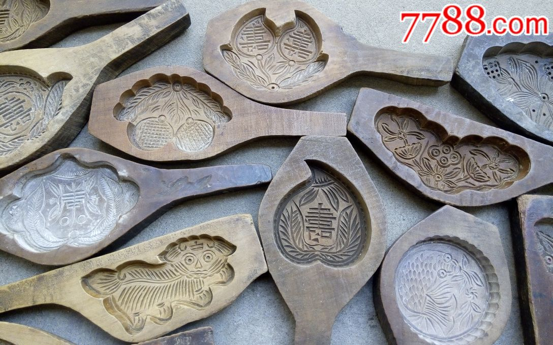 民国糕点模具鱼儿莲蓬模具喜字寿字月饼木印模模具diy动物木模型老
