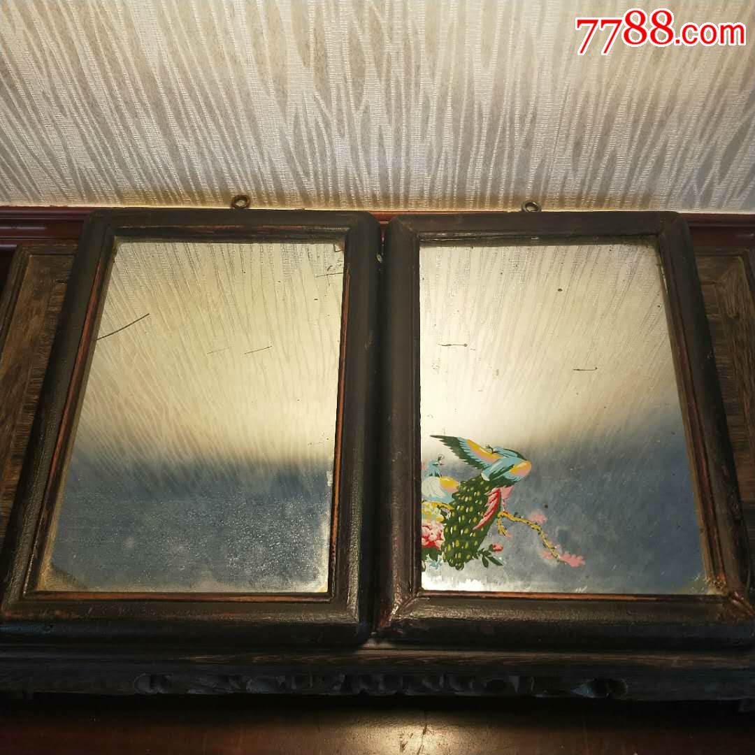 民国老相框老照片木框老镜子玻璃挂镜怀旧人物照片中式装饰摆件
