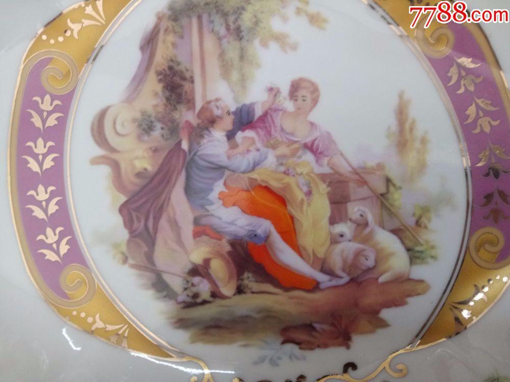 怀旧收藏80年代陶瓷盘子欧洲风格人物风景图案镂空边