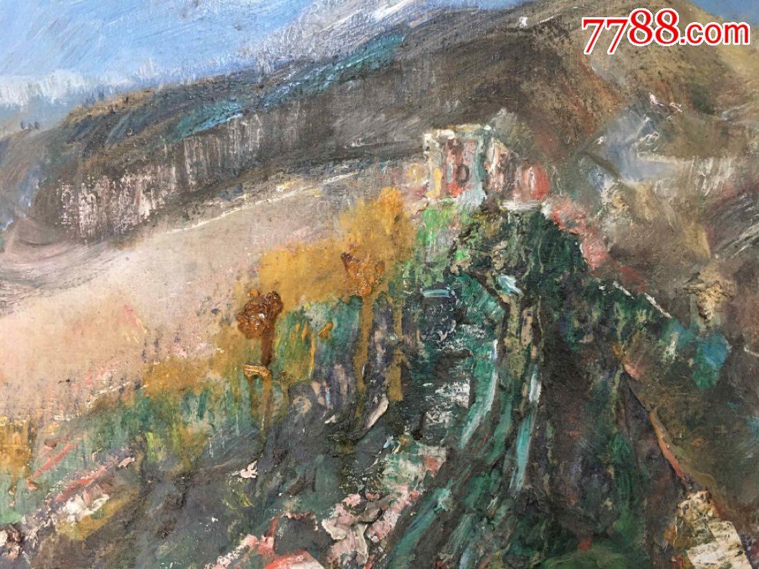长城风景油画(燕山春讯,魏运成)