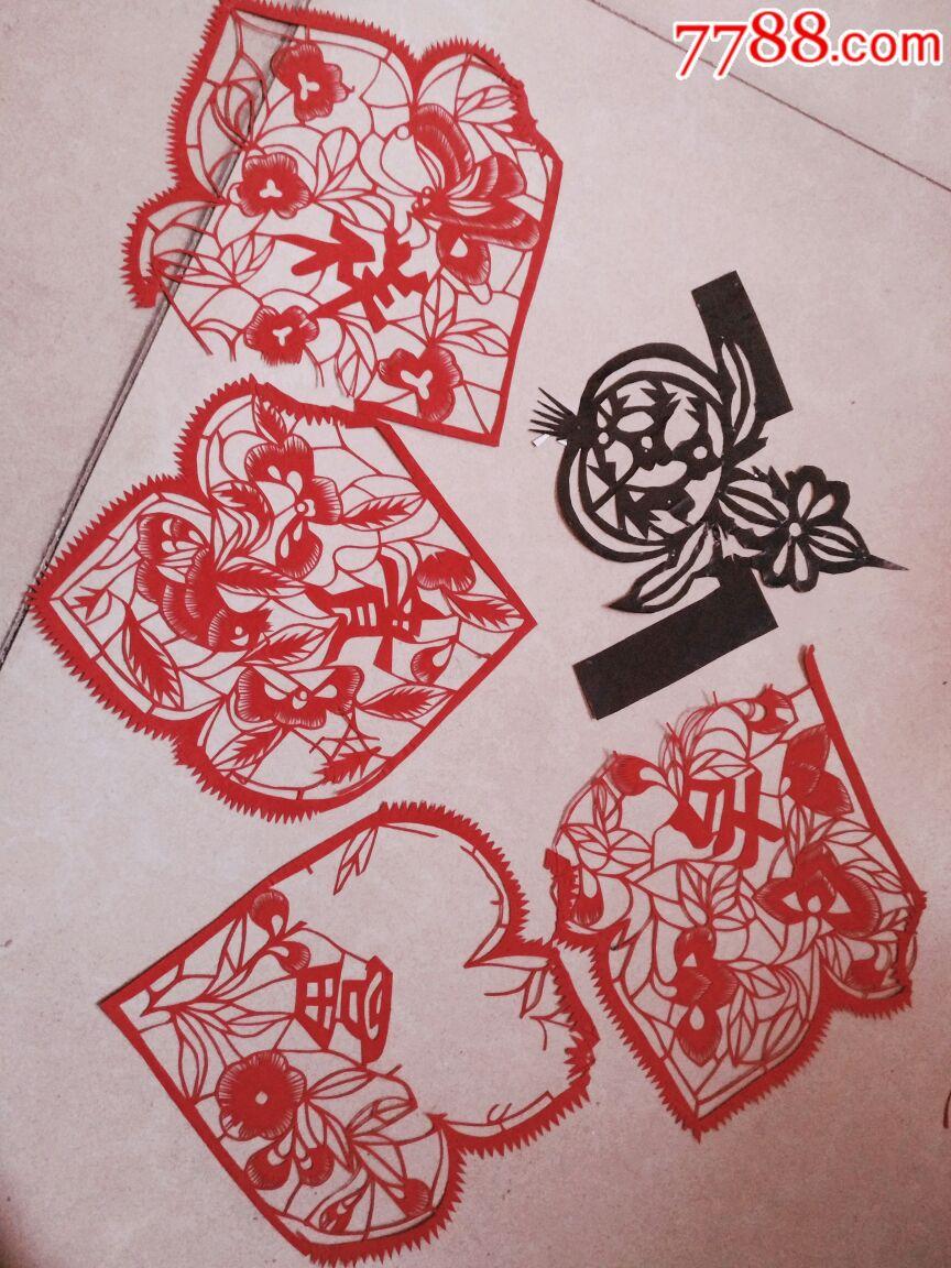 胶东民俗剪纸染花和红花窗心窗角和熏样一堆