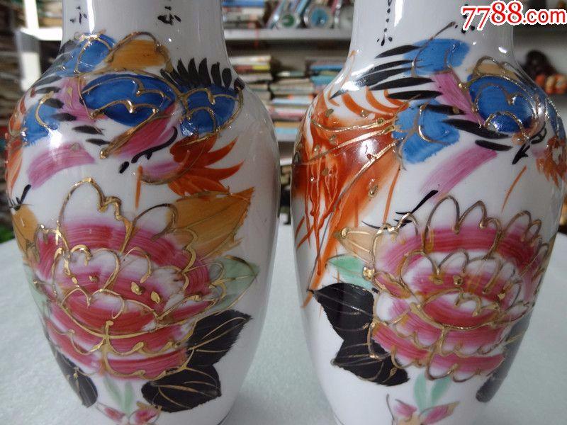 精品80年代粉彩手绘图案老瓷器花瓶一对