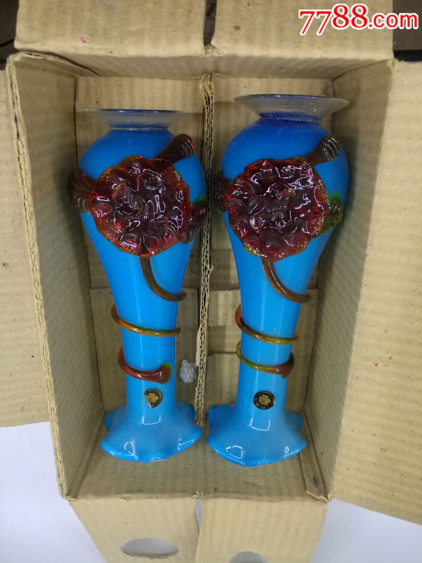【花瓶收藏】八十年代三鱼牌琉璃插花花瓶(商标完整... -7788收藏