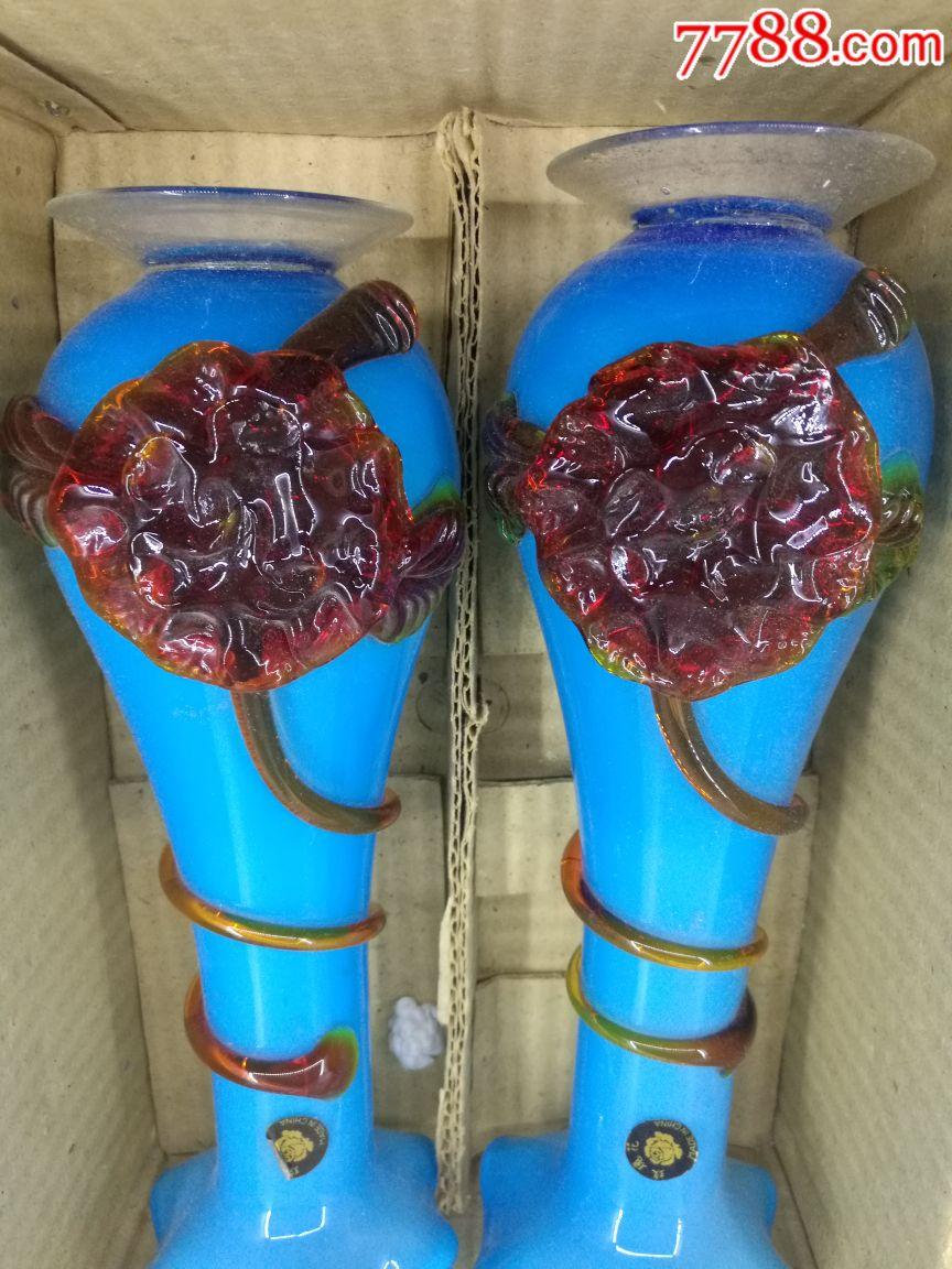 上世纪70-80年代老式琉璃花瓶摆件老式装饰民俗老物... -7788收藏