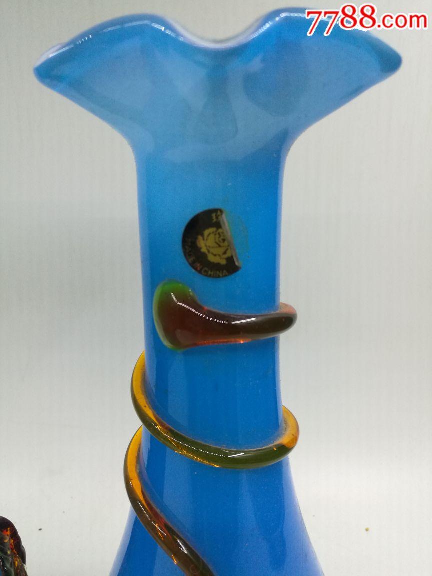 【花瓶收藏】七八十年代琉璃蓝釉插花花瓶摆件(以图... -7788收藏