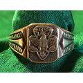 vintage复古怀旧收藏USA美国之鹰GS纯银STERLING古董活口老银戒指