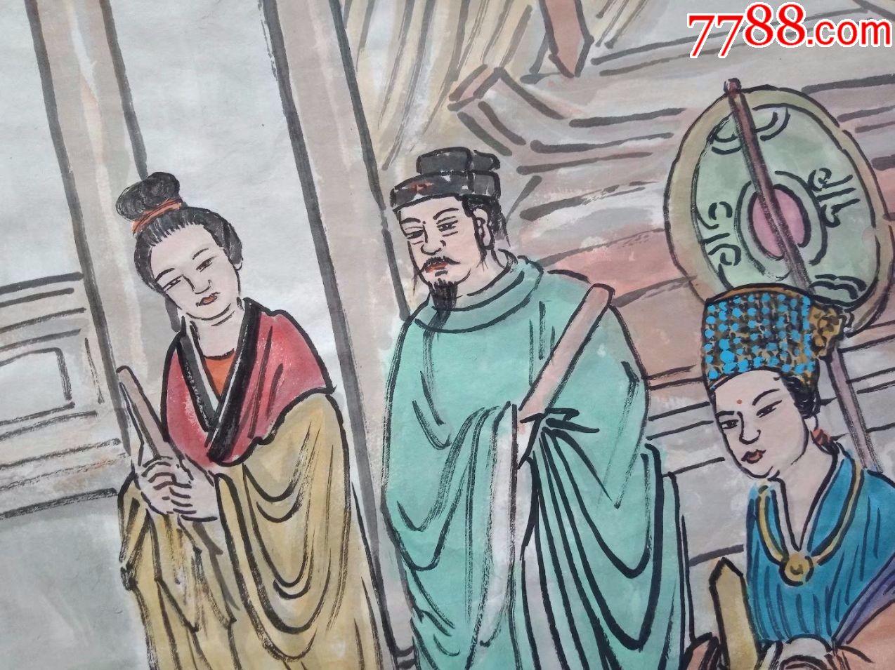 保证纯手工绘画妈祖受封图,四尺中堂人物画国画神仙画