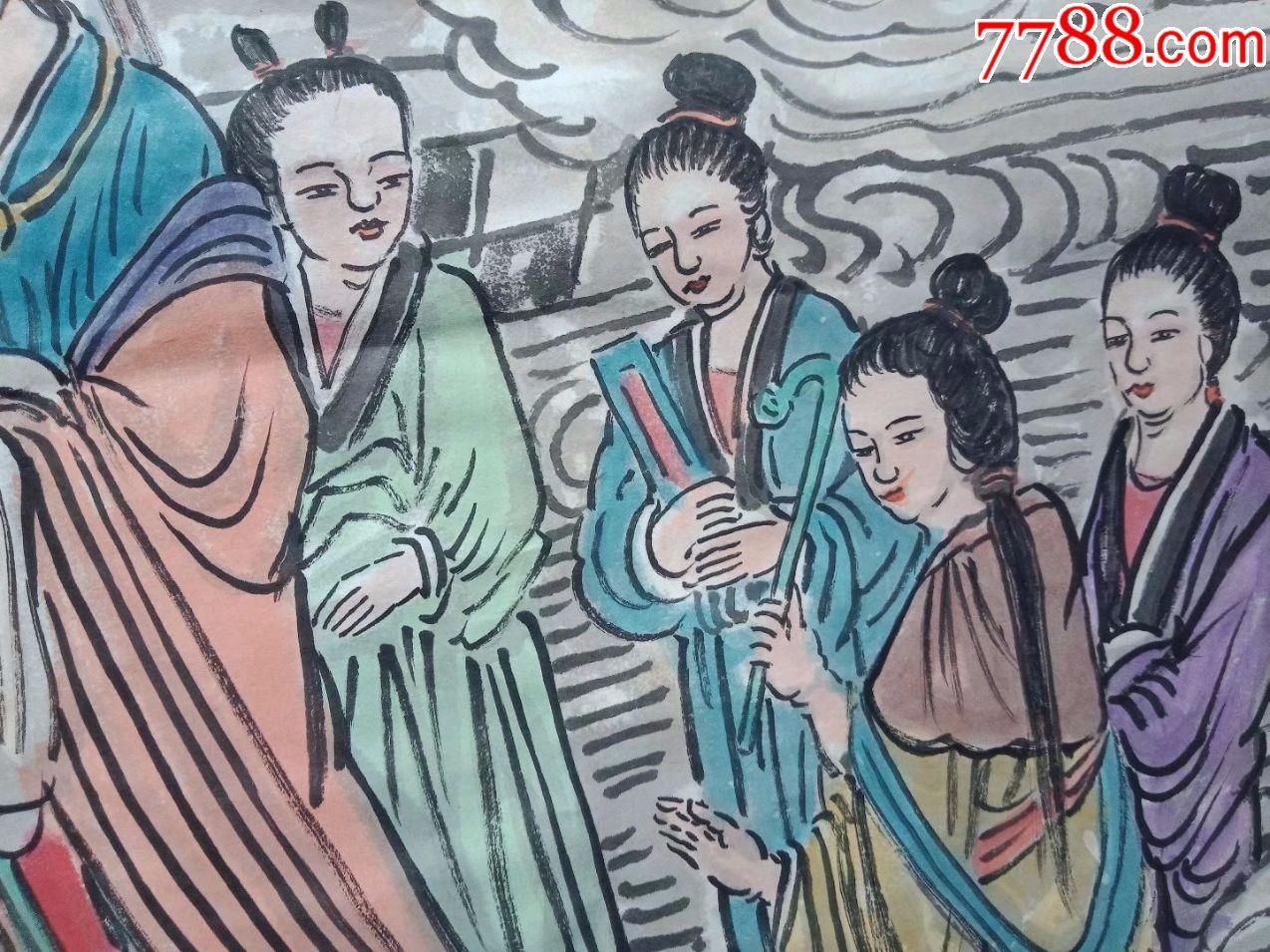 保证纯手工绘画妈祖受封图,四尺中堂人物画国画神仙画妈祖故事像_价格