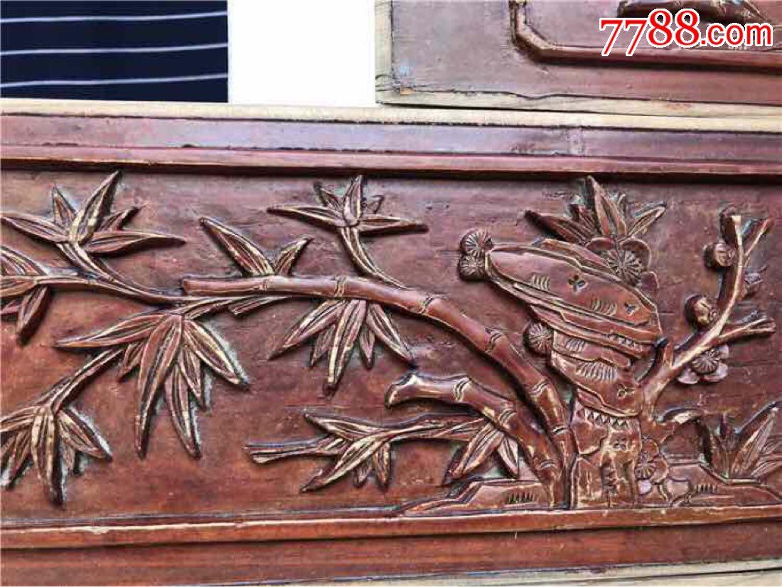 民老物件明清木雕老花板榉木独板一套