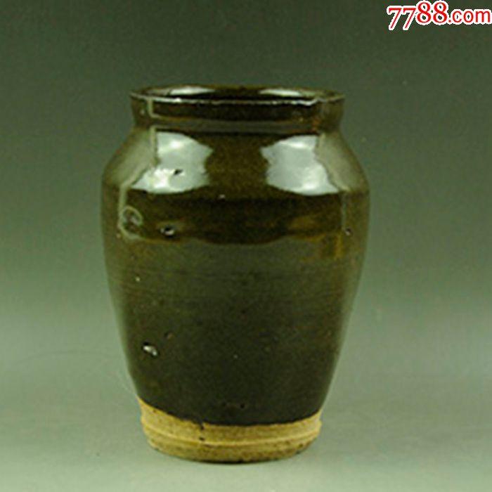 全品清代单色釉罐子磁州窑老瓷器插花水盛完整陈设摆件收藏品古玩
