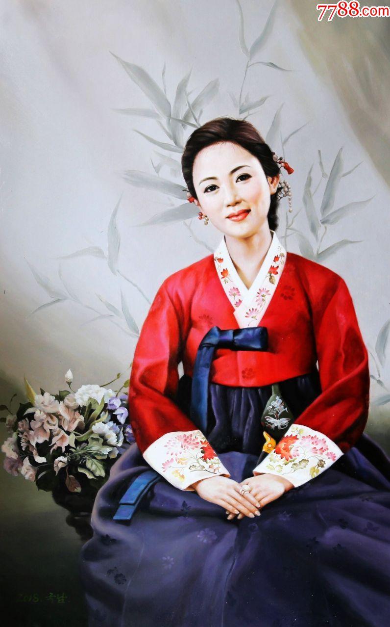 朝鲜画朝鲜油画朝鲜人物油画朝鲜一级画家车国南图片
