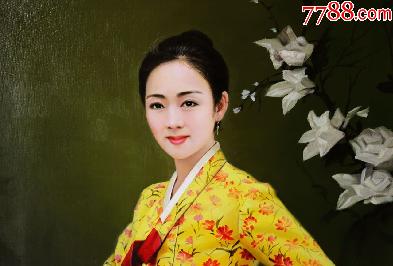 朝鲜画朝鲜油画朝鲜人物油画朝鲜一级画家金哲秀图片