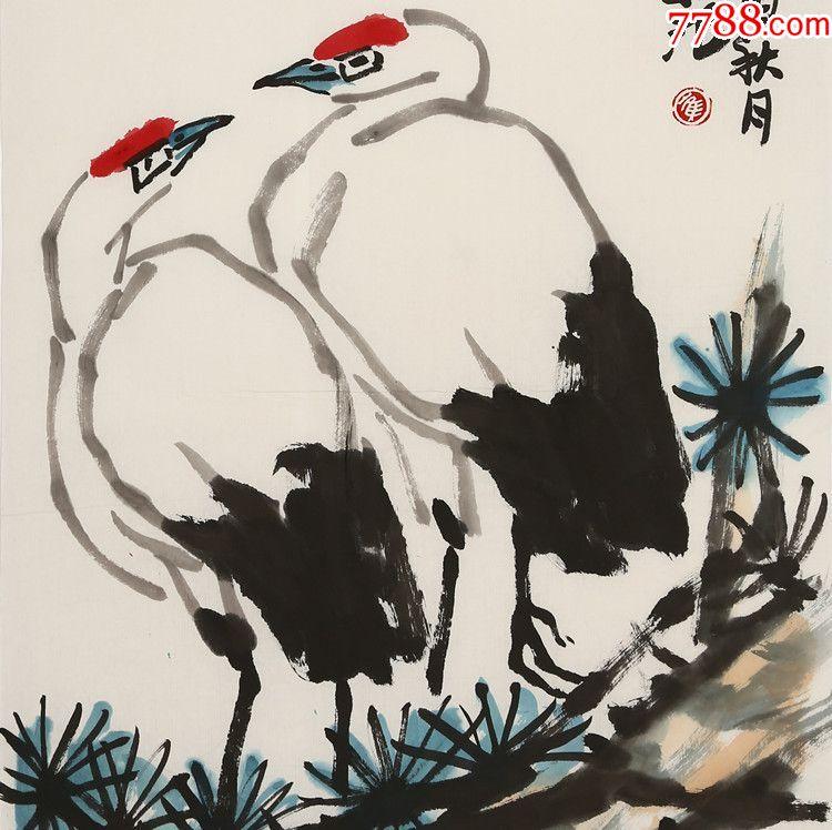 崔子范手绘双鹤