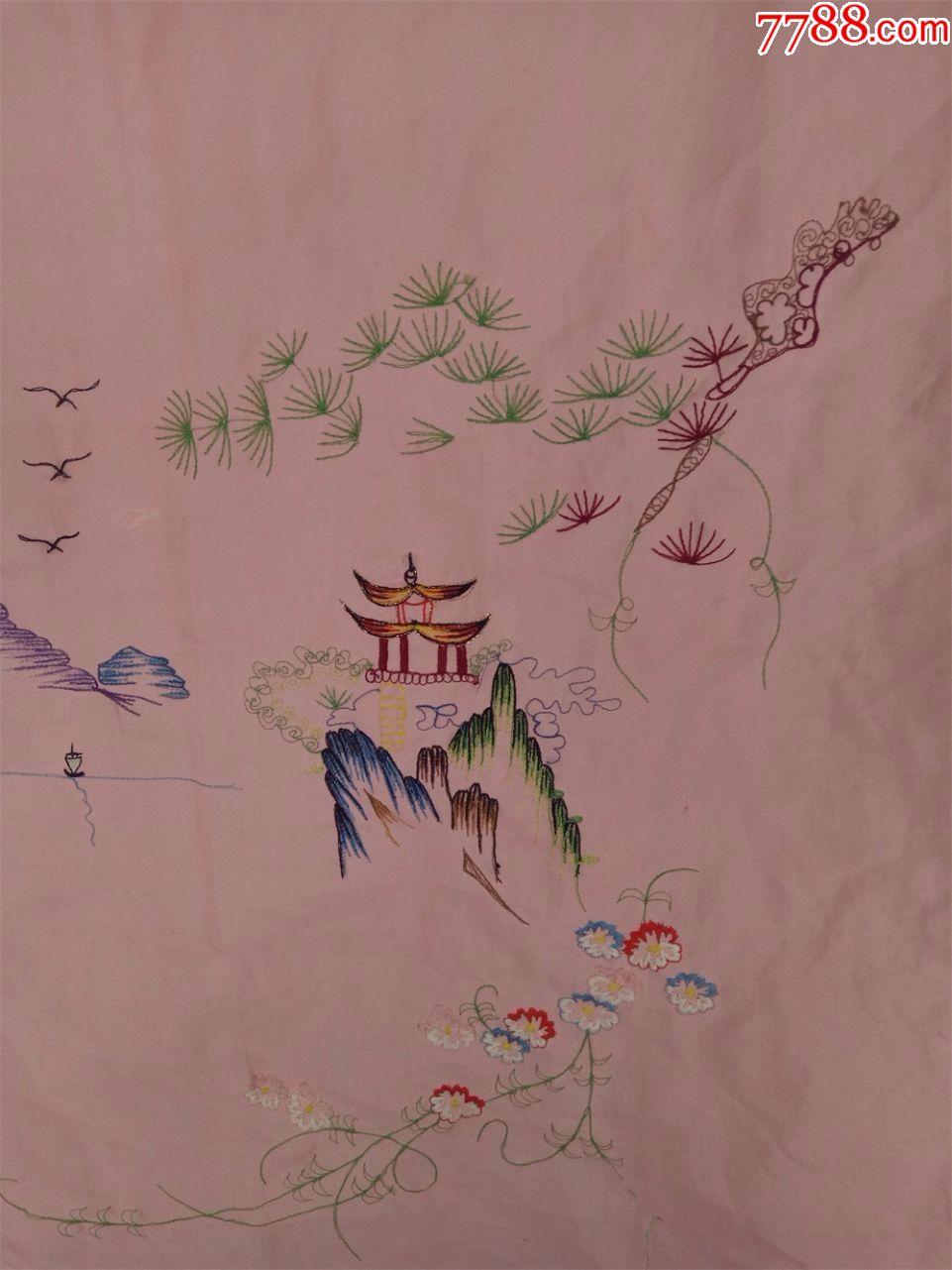 怀旧收藏八十年代门帘刺绣门帘友谊前程似锦风景图案仅供收藏