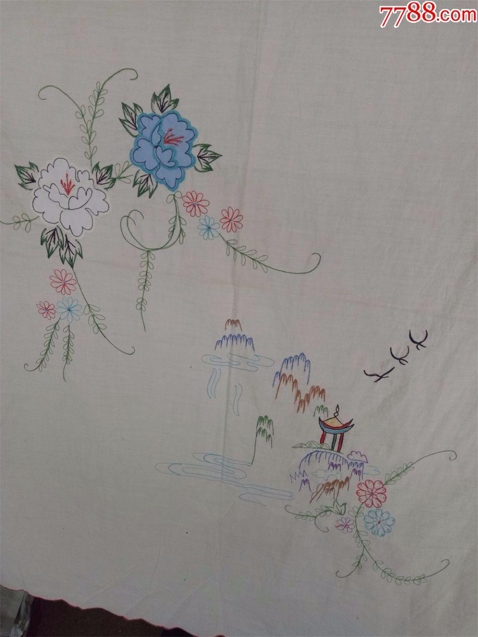 怀旧收藏八十年代门帘刺绣门帘喜字花朵风景图案仅供收藏