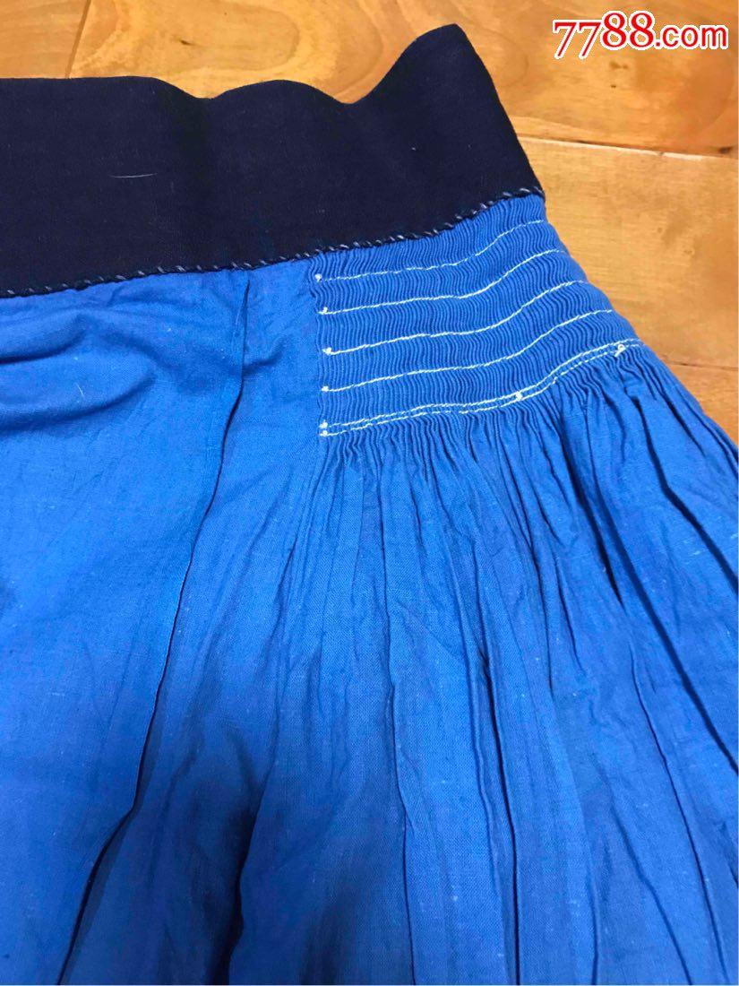 古董古玩收藏民国杂项麻布裙子围裙布料蓝布手工布服饰