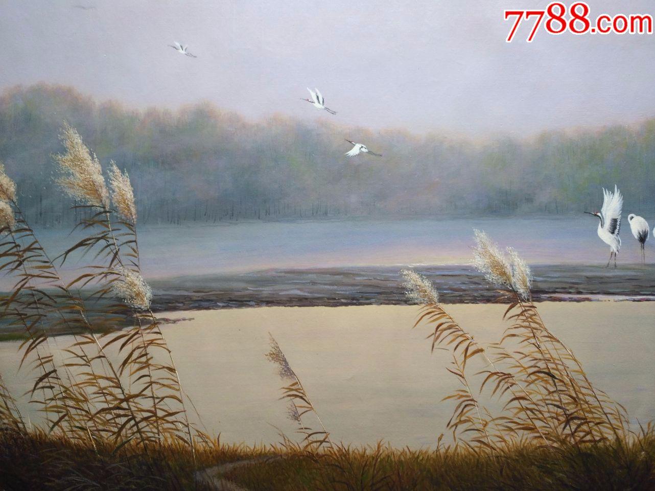 朝鲜名家一级画家车汝尚风景油画仙鹤的故乡