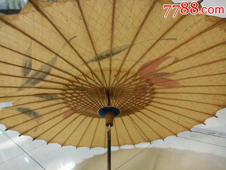 民国时期手绘铜皮顶油纸伞127746;,品如图,有一惜残