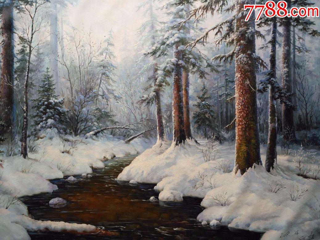 朝鲜风景油画溪流的冬天图片