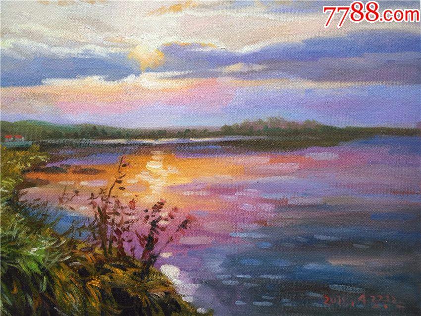 朝鲜一级画家卢景丹小幅风景油画晚霞_第5张_7788收藏__中国收藏热线图片