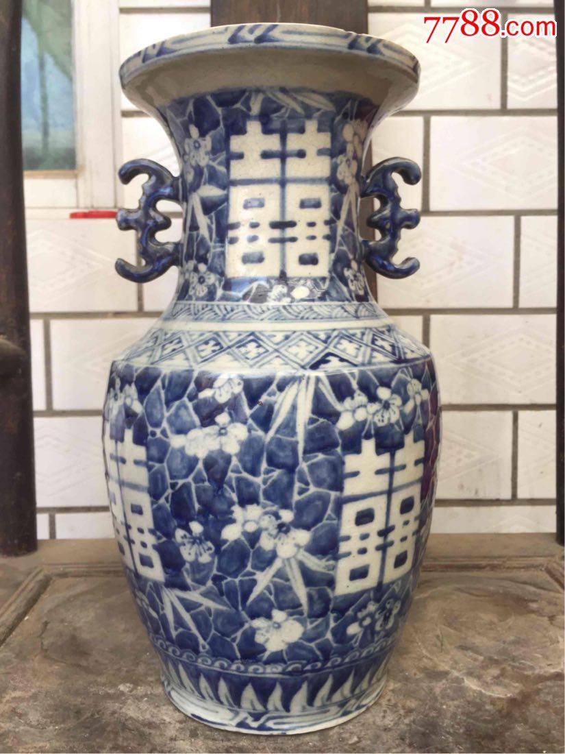 清代磁州窑青花喜字大瓶-se60127437-青花瓷-零售