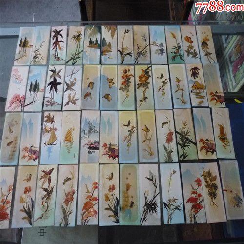 48枚文革前用麦秆纯手工制作书签图片