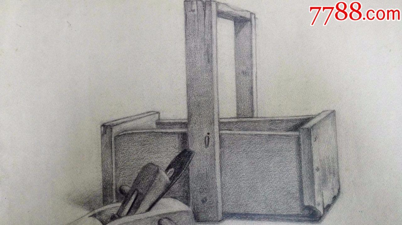 包老包真60年代素描画稿原稿《木工工具》2