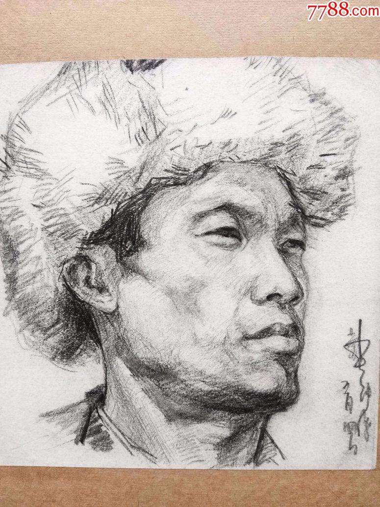 包真七十年代铅笔素描画稿原稿《戴暖帽的男性》图片