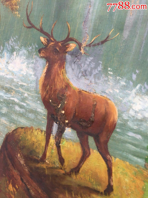 前苏联老风景画山水鹿