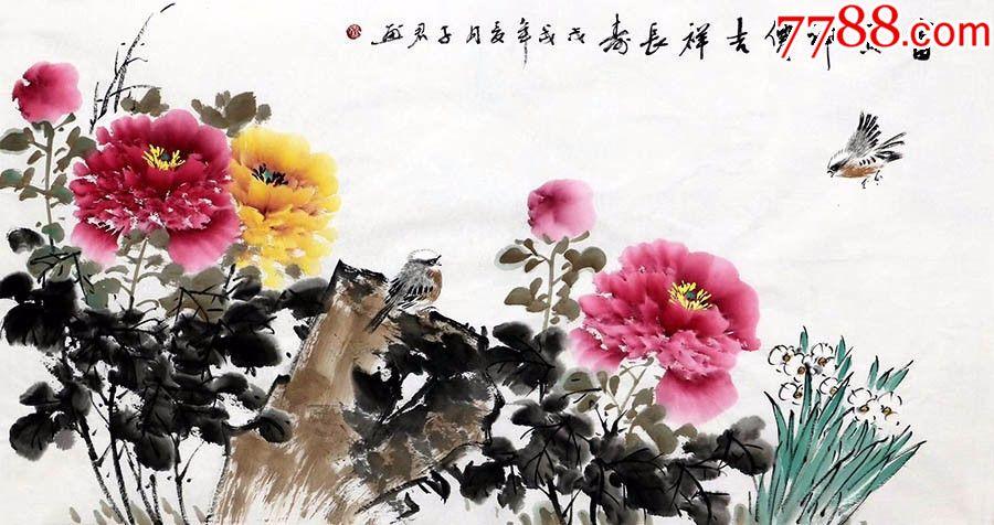 花鸟画中最为可爱的是稍加夸张的小鸟,活泼有趣,给画面增加了无限生机