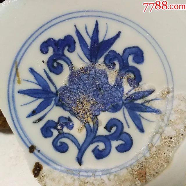 明万历花纹美器款青花古瓷片-古董古瓷宋元明清代老瓷盘碗罐炉壶杯瓶