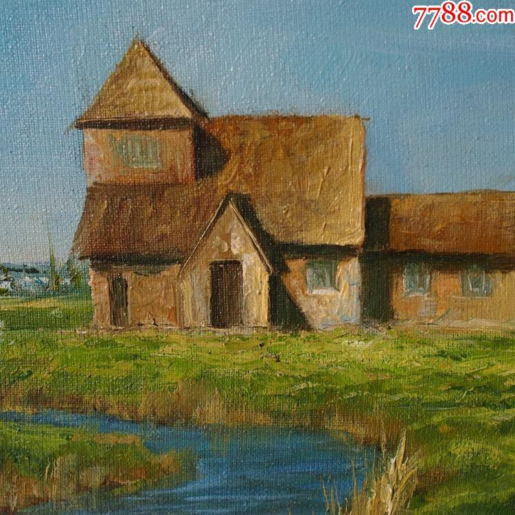20世纪90年代西洋古董老式乡村小河房屋油画壁画风景画长60宽51cm