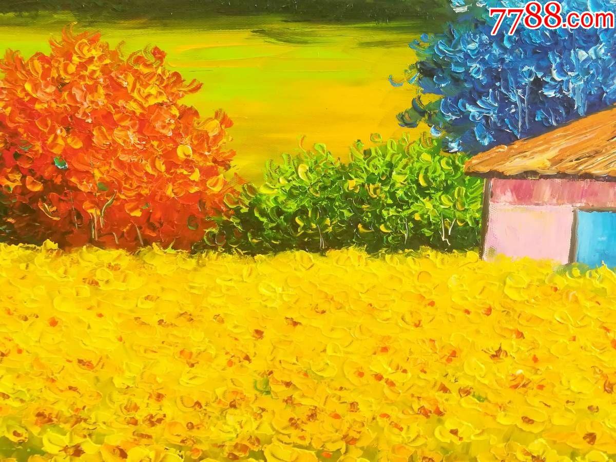 風景油畫豐收農田麥田2純手工繪畫裝飾畫